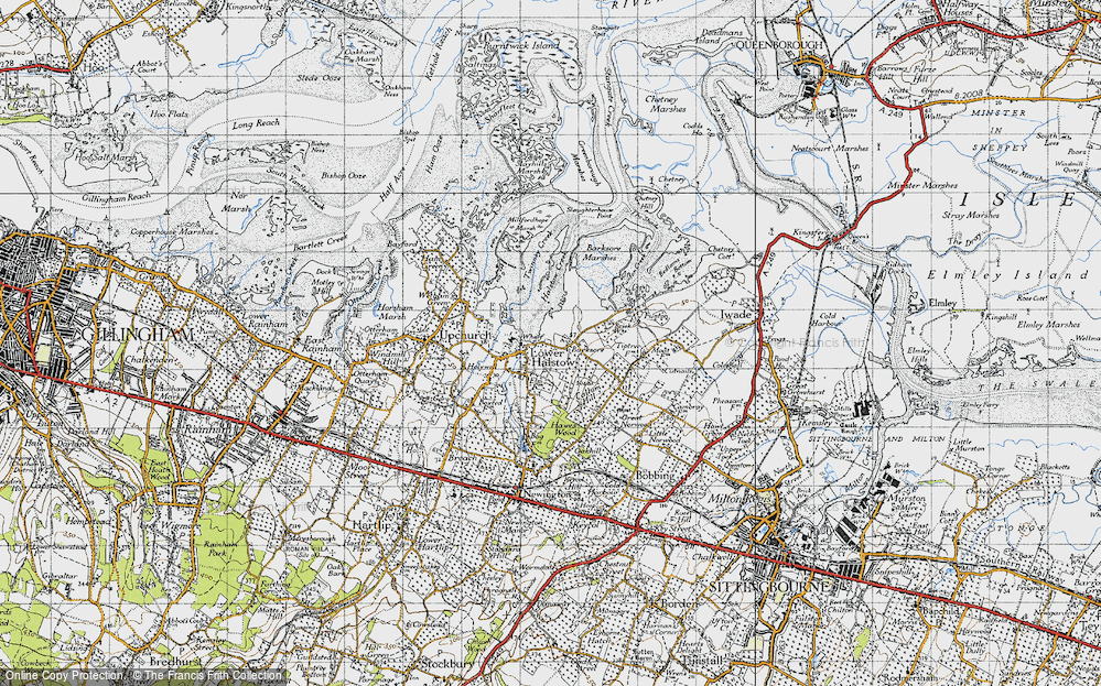 Old Map of Historic Map covering Barksore Marshes in 1946
