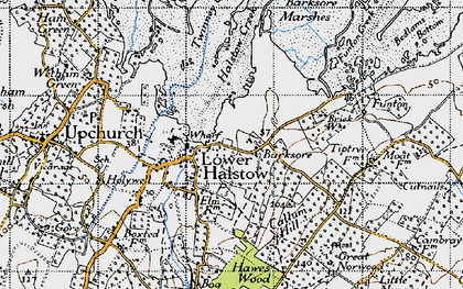 Old map of Lower Halstow in 1946