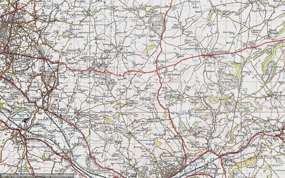 Old Map of Historic Map covering Tog Hill in 1946