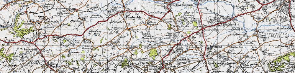 Old map of Lower Hardwick in 1947