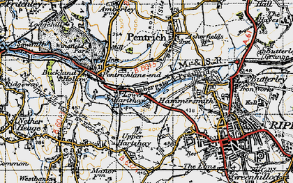Old map of Lower Hartshay in 1946