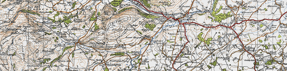 Old map of Whet Stone in 1947