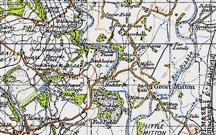 Old map of Lower Hodder in 1947