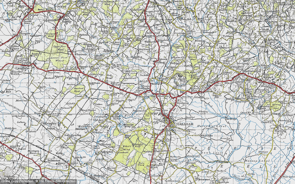 Old Map of Historic Map covering Tile Hurst in 1940