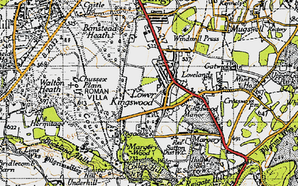 Old map of Lower Kingswood in 1940