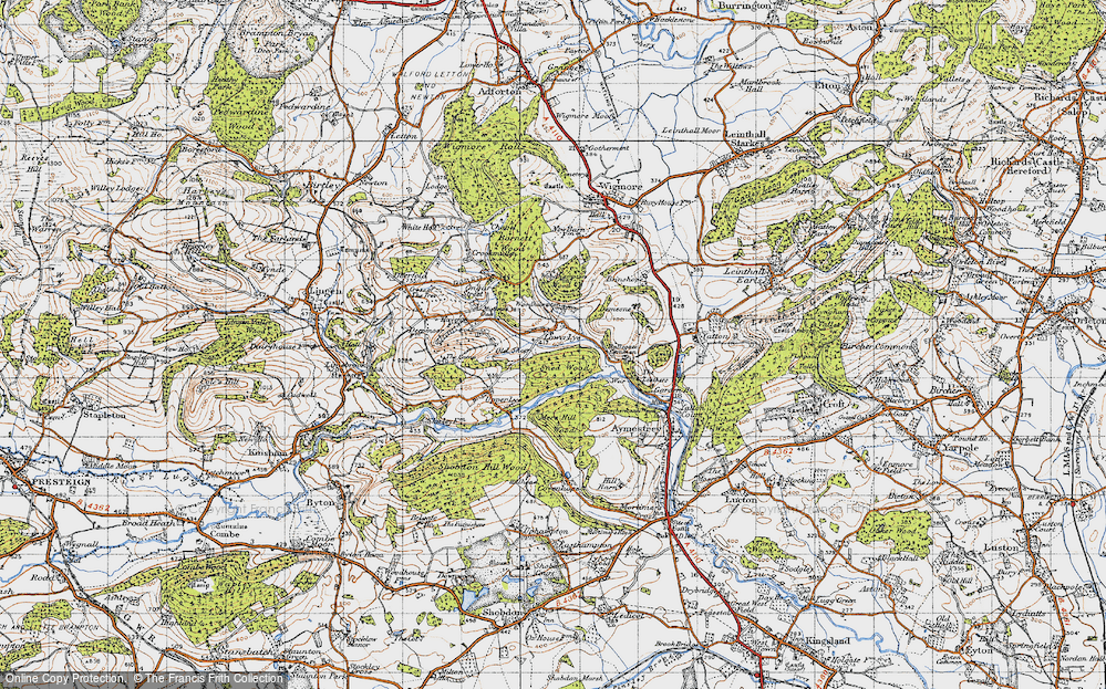 Old Map of Historic Map covering Woodhampton Wood in 1947