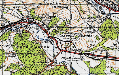 Old map of Lower Machen in 1947