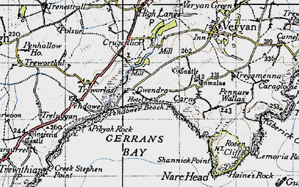 Old map of Lower Mill in 1946