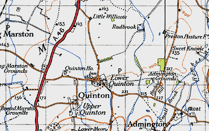 Old map of Admington Grounds in 1946