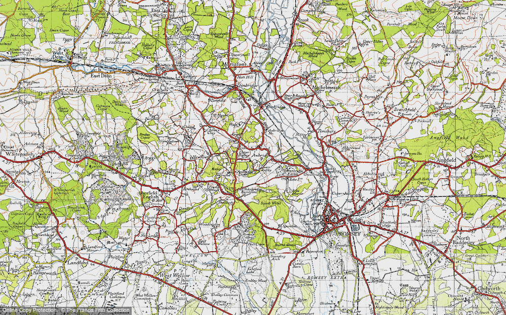 Old Map of Historic Map covering Awbridge Danes in 1945