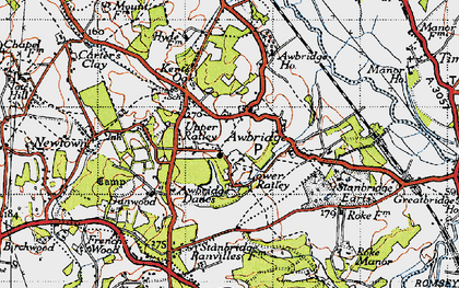 Old map of Awbridge Danes in 1945