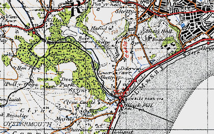 Old map of Lower Sketty in 1947