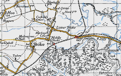 Old map of Lower Stoke in 1946