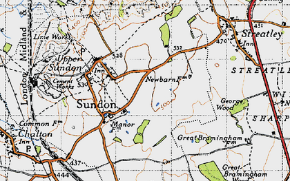 Old map of Lower Sundon in 1946