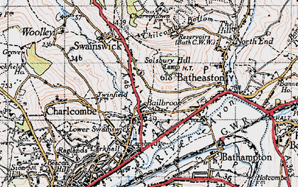 Old map of Lower Swainswick in 1946
