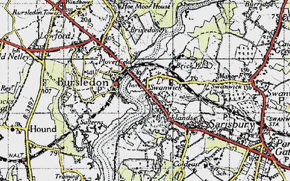 Old map of Lower Swanwick in 1945