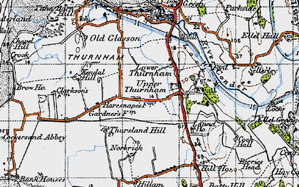 Old map of Lower Thurnham in 1947