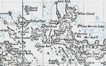 Old map of Round Island in 1946