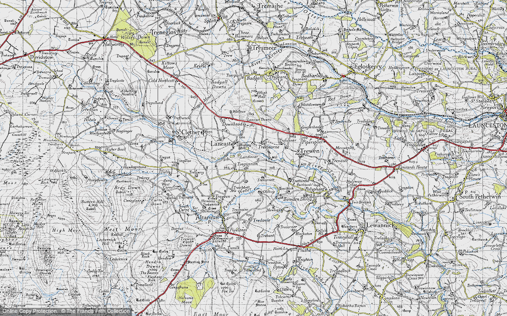 Old Map of Historic Map covering Laneast Downs in 1946