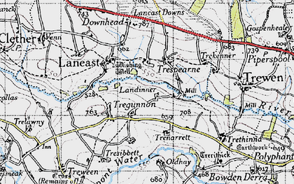 Old map of Laneast Downs in 1946
