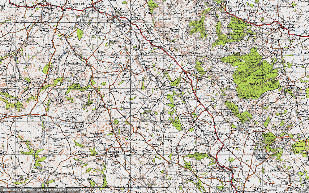 Old Map of Historic Map covering Leigh Cott in 1946