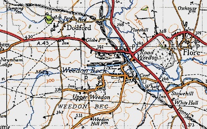 Old map of Lower Weedon in 1946