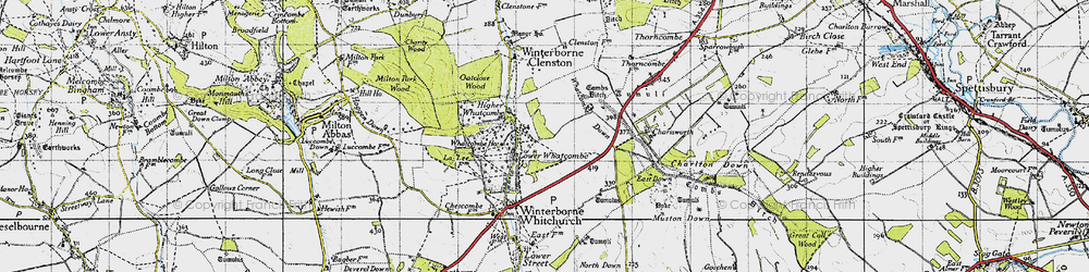 Old map of Whatcombe Down in 1945