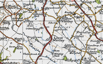 Old map of Whitley Brook in 1947