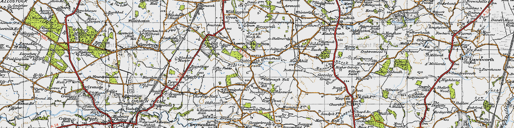 Old map of Lower Withington in 1947