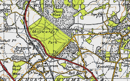 Old map of Woodside Place in 1946