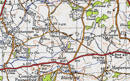Old map of Yarlington Ho in 1945