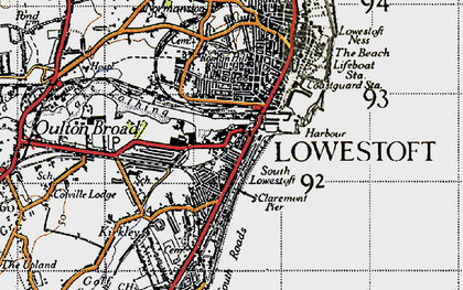 Old map of Lowestoft in 1946