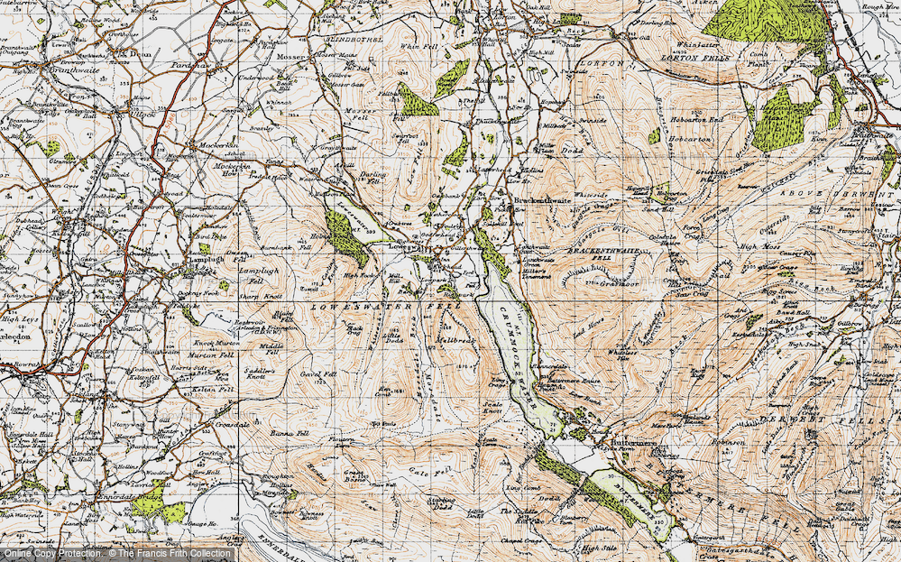 Old Map of Historic Map covering Whiteoak Beck in 1947