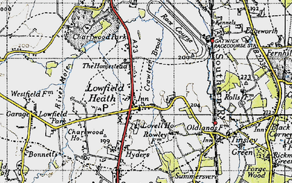 Old map of Lowfield Heath in 1940