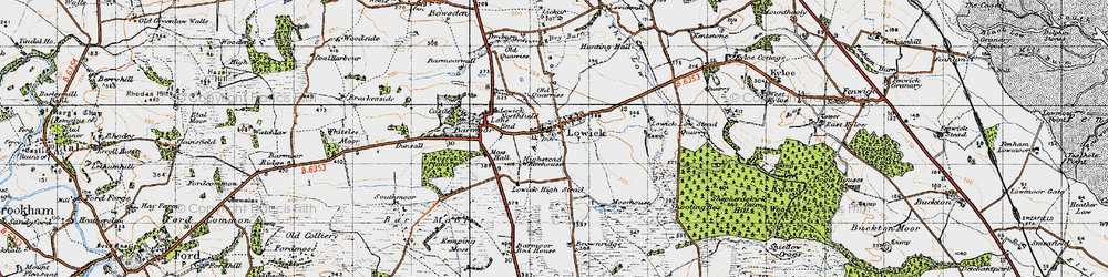 Old map of Lowick in 1947