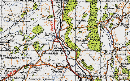 Old map of Lowick Bridge in 1947