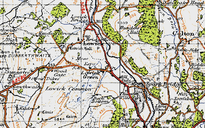Old map of Lowick Green in 1947