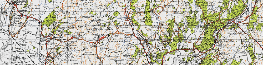 Old map of Wood Gate in 1947
