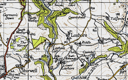 Old map of Woolley Wood in 1946