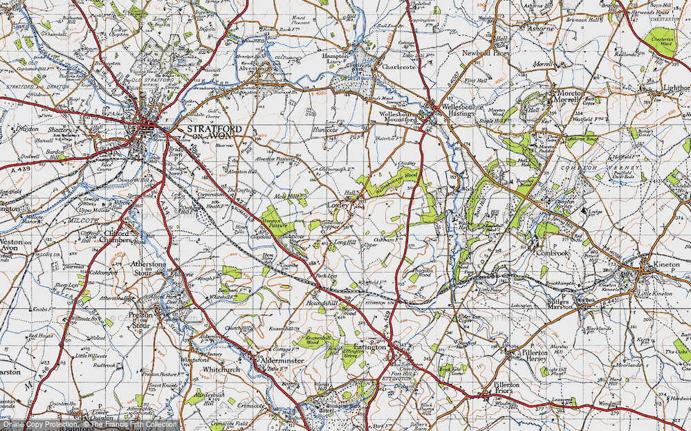 Old Map of Historic Map covering Alveston Pastures in 1946