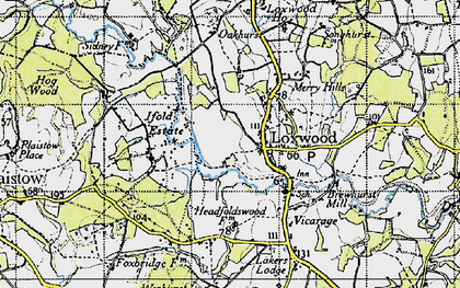 Old map of Loxwood in 1940