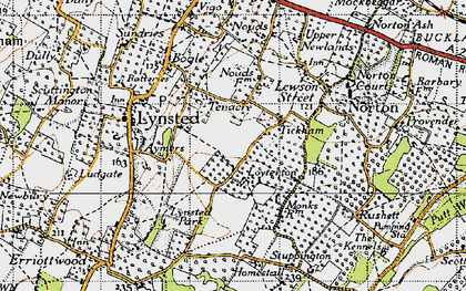 Old map of Tickham in 1946