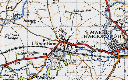 Old map of Lubenham in 1946
