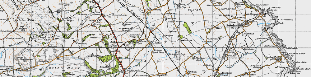 Old map of Adderstone Mains in 1947