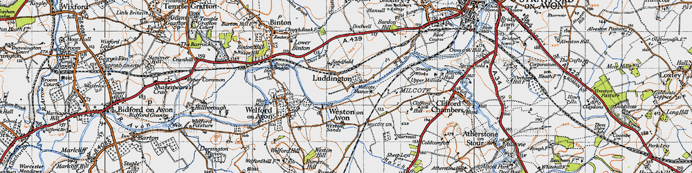 Old map of Weston Sands in 1946