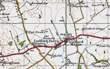 Old map of Ludford in 1946