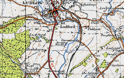 Old map of Ludford in 1947