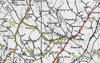 Old map of Ludgvan in 1946