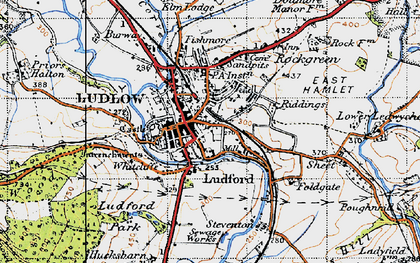 Old map of Ludlow in 1947