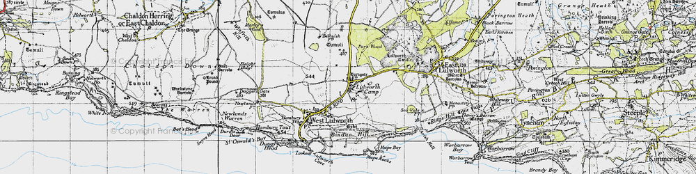 Old map of Lulworth Camp in 1946